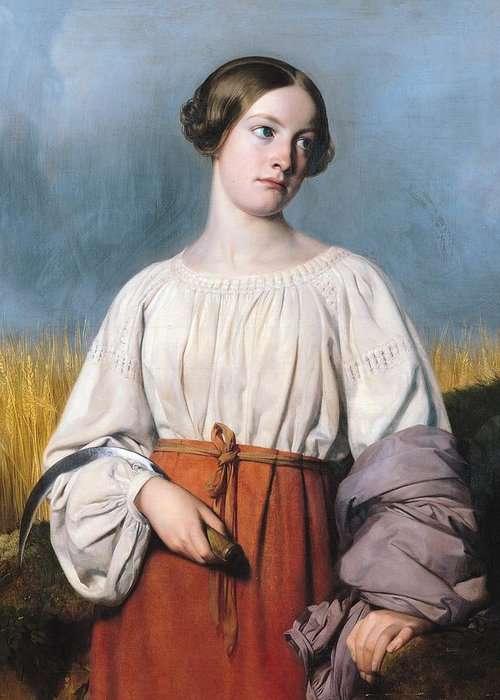 Harvester Holding Sickle (oil On Canvas) Moissonneuse Tenant Sa Faucille; Female; Harvest; Farm; Field; Portrait; Corn; Wheat; Worker; Peasant; Apron Greeting Card featuring the painting Harvester Holding Her Sickle by AJB Hesse