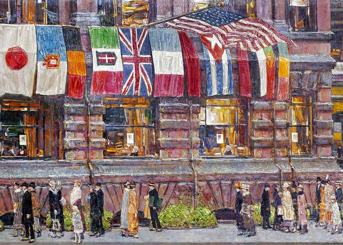 1917 Greeting Card featuring the photograph Hassam: Allied Flags, 1917 by Granger