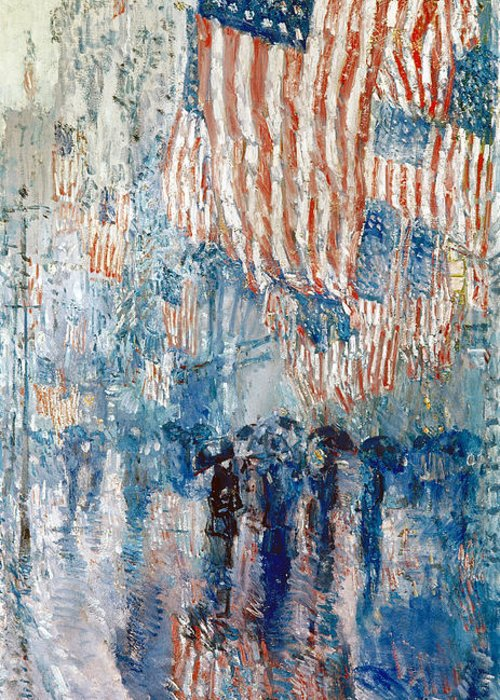 1917 Greeting Card featuring the photograph Hassam Avenue In The Rain by Granger