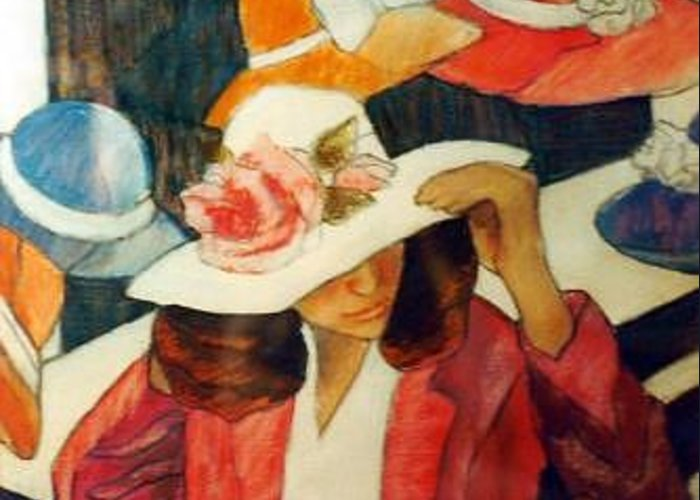 Hat Flower Greeting Card featuring the painting Hat Series Pink Rose by Helen Hickey