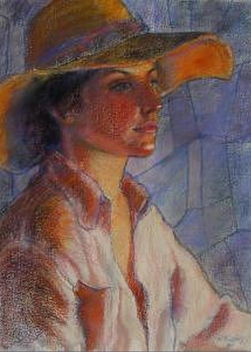 Hat Portraint Woman Greeting Card featuring the painting Hat Series Summer Glow by Helen Hickey