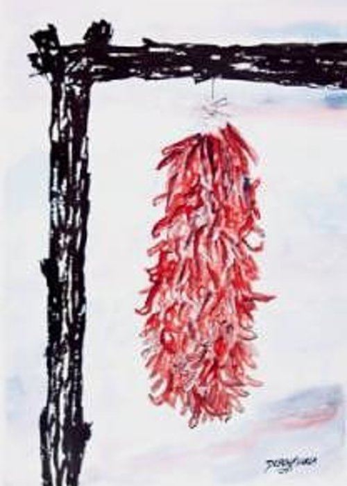 Watercolor Painting Greeting Card featuring the painting Hatch Texas Chili Pepper painting by Derek Mccrea