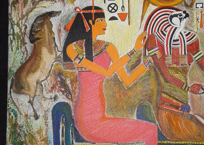 Hathor Greeting Card featuring the mixed media Hathor And Horus by Prasenjit Dhar