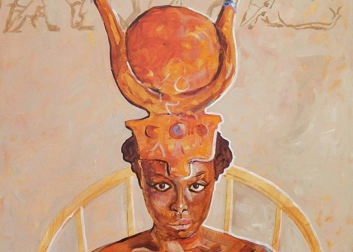 Hathor Greeting Card featuring the painting Hathor by Micheal Jones