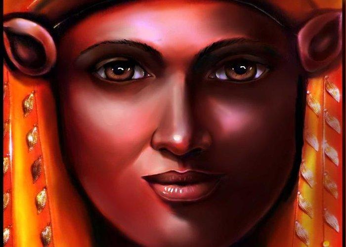 Egyptian Art Greeting Card featuring the digital art Hathor- The Goddess by Carmen Cordova