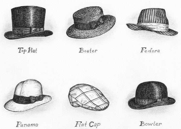Black Greeting Card featuring the drawing Hats Of A Gentleman by Adam Zebediah Joseph