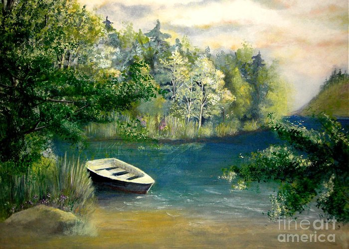 Landscape Greeting Card featuring the painting Hatzec Lake by Vivian Mosley
