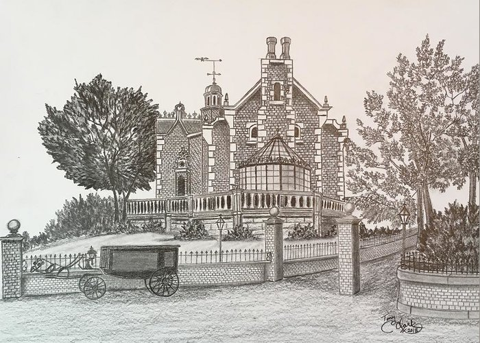House Greeting Card featuring the drawing Haunted Mansion by Tony Clark