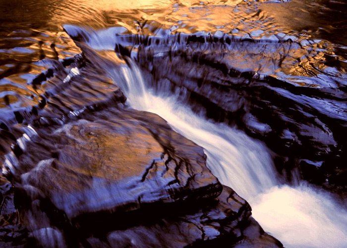 Abstract Greeting Card featuring the photograph Havana Glen Reflection by Roger Soule