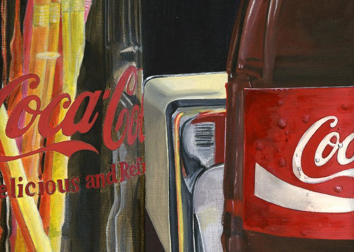 Coca Greeting Card featuring the painting Have A Coke... by Rob De Vries