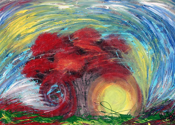 The Tree Greeting Card featuring the painting Havoc Winds And Strong Tree by Michelle Teague