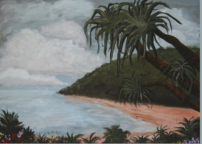 Landscape Greeting Card featuring the painting Hawaii by Amy Parker Evans
