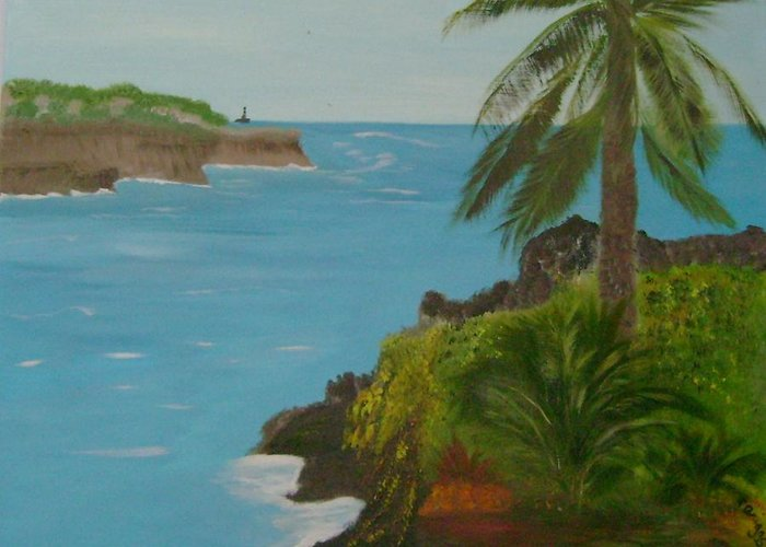Hawaii Greeting Card featuring the painting Hawaii Cliffs by Dottie Briggs