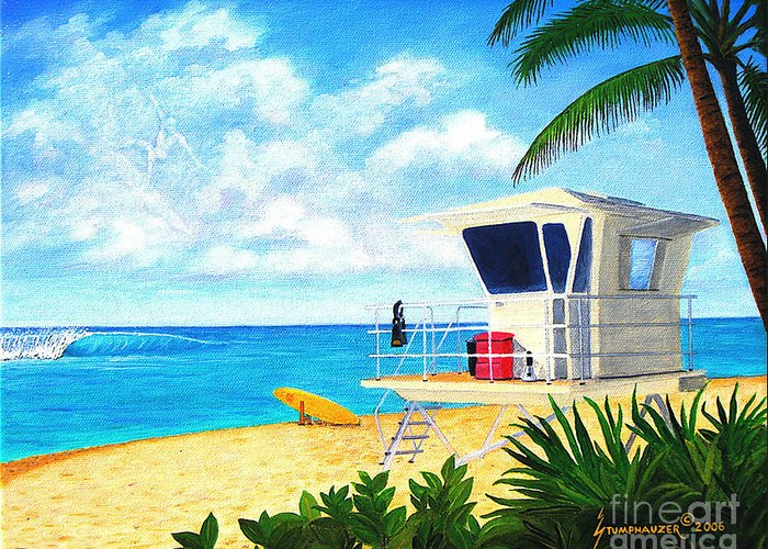 Hawaii Greeting Card featuring the painting Hawaii North Shore Banzai Pipeline by Jerome Stumphauzer