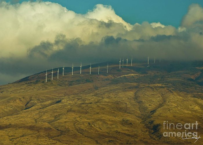 Clouds Greeting Card featuring the photograph Hawaii Windmills On Maui One by Vance Fox