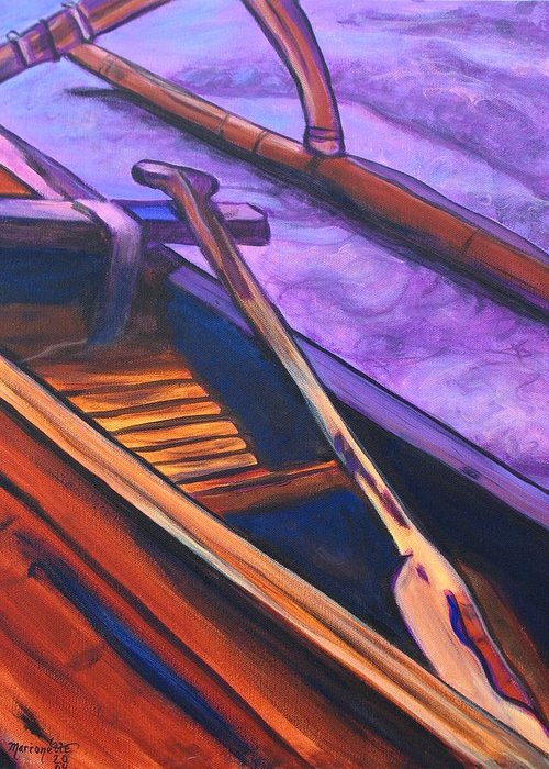 Canoe Greeting Card featuring the painting Hawaiian Canoe by Marionette Taboniar