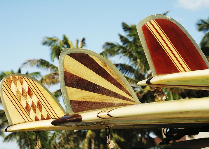 Abstract Greeting Card featuring the photograph Hawaiian Design Surfboards by Vince Cavataio - Printscapes
