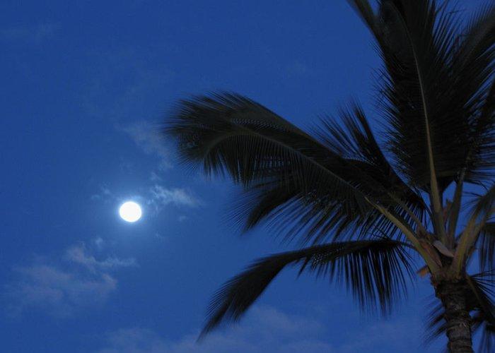 Moon Greeting Card featuring the photograph Hawaiian Moon by Sarah Houser