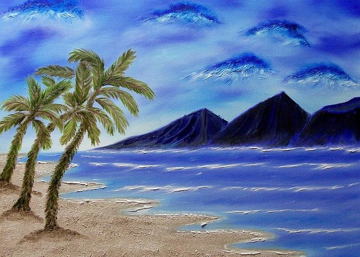 Palm Tree Greeting Card featuring the painting Hawaiian Palms by Marie Lamoureaux