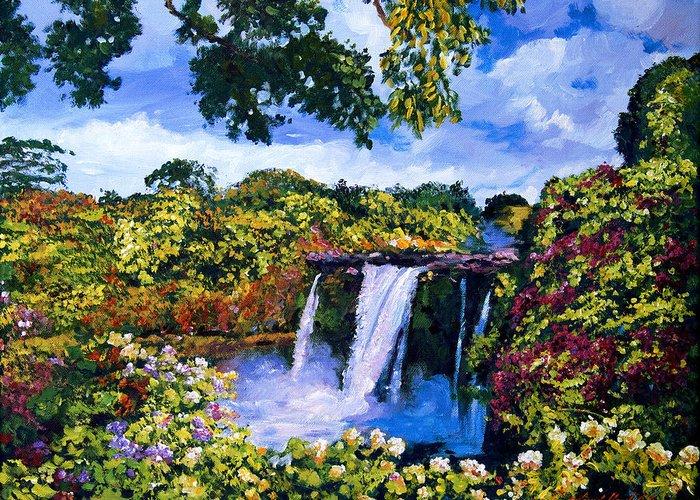 Hawaii Greeting Card featuring the painting Hawaiian Paradise Falls by David Lloyd Glover