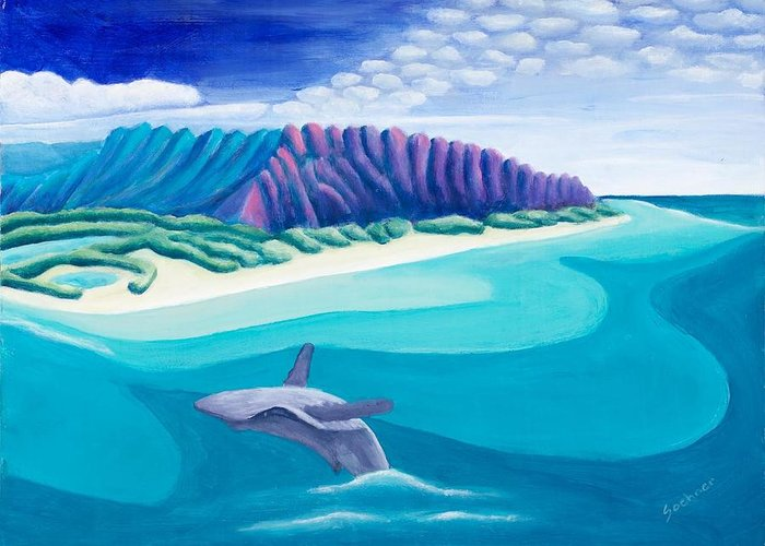 Landscape Greeting Card featuring the painting Hawaiian Playground by Lynn Soehner