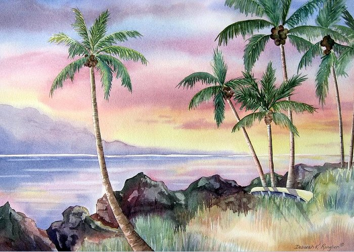 Hawaii Greeting Card featuring the painting Hawaiian Sunset by Deborah Ronglien
