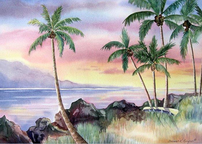 Hawaii Greeting Card featuring the painting Hawaiian Sunset by Deborah Ronglien