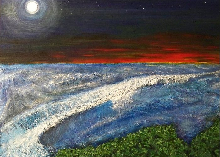 Beaches Greeting Card featuring the painting Hawiian View by Michael Cuozzo