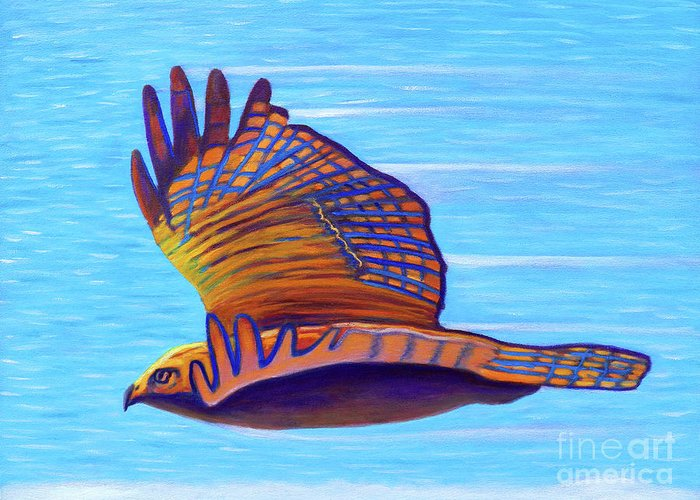 Hawk Greeting Card featuring the painting Hawk Speed by Brian Commerford
