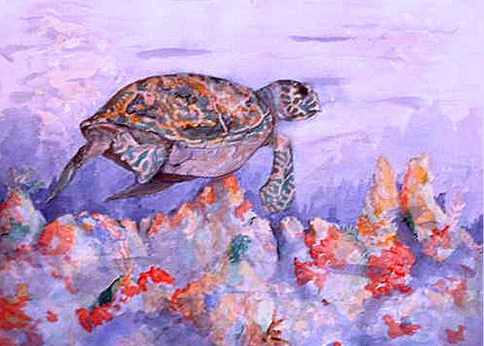Hawksbill Greeting Card featuring the painting Hawksbill by Ladonna Idell