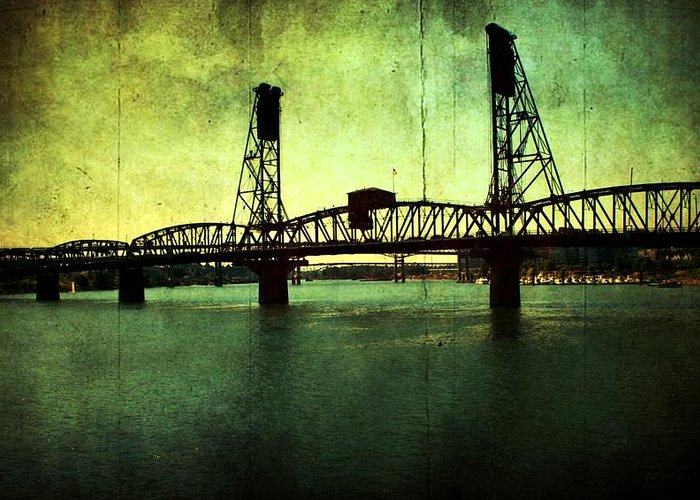 Greeting Card featuring the photograph Hawthorne Bridge by Cathie Tyler