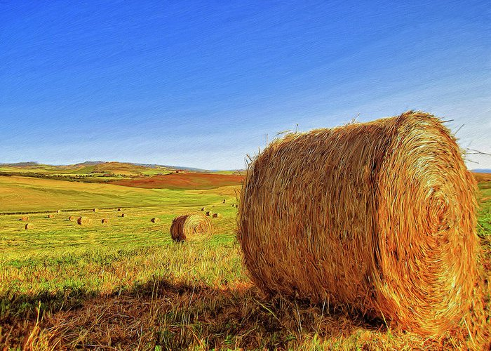 Hay Bales Greeting Card featuring the painting Hay Bales by Dominic Piperata