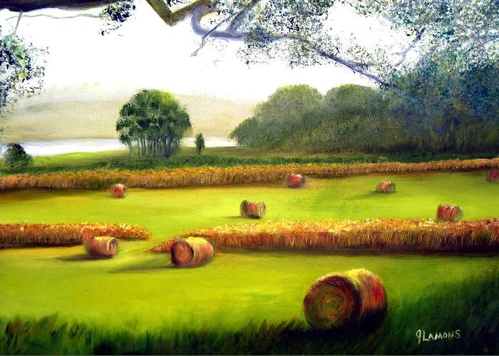 Landscape Greeting Card featuring the painting Hay Bales by Julie Lamons