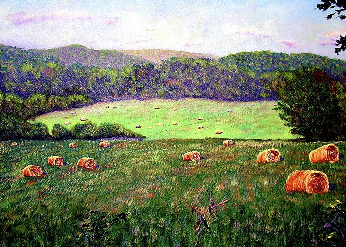 Original Oil On Canvas Greeting Card featuring the painting Hay Field by Stan Hamilton