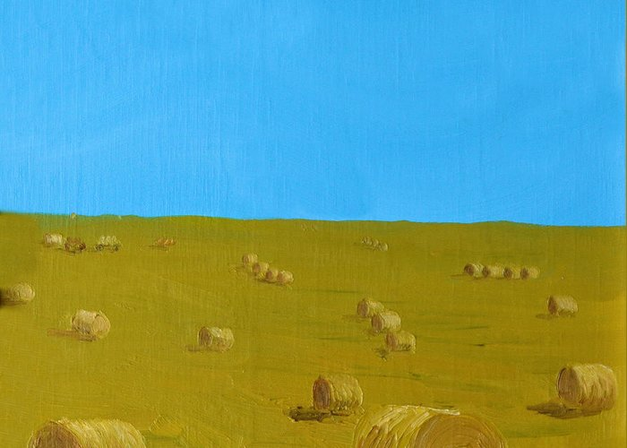 Landscapes Greeting Card featuring the painting Hay Harvest by Tom Amiss
