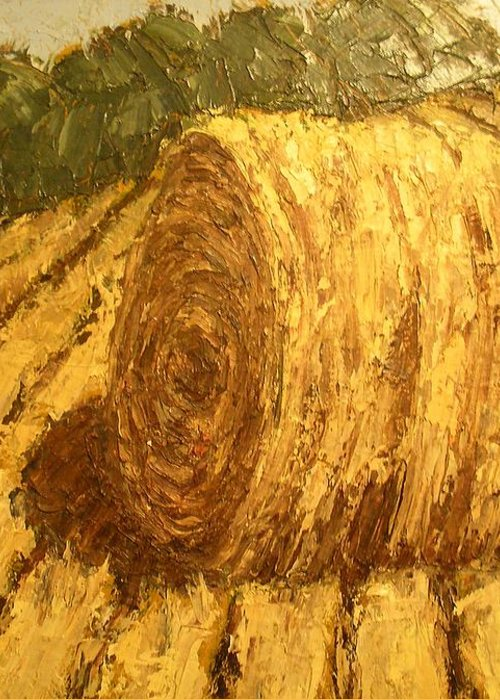 Art Sale Greeting Card featuring the painting Haybale Hill by Jaylynn Johnson