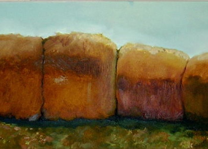 Oil Greeting Card featuring the painting Haybales by Judy Blundell
