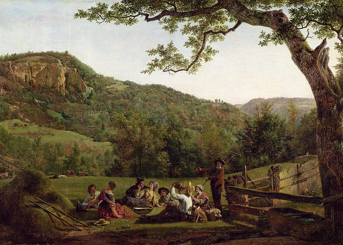 Haymakers Greeting Card featuring the painting Haymakers Picnicking In A Field by Jean Louis De Marne