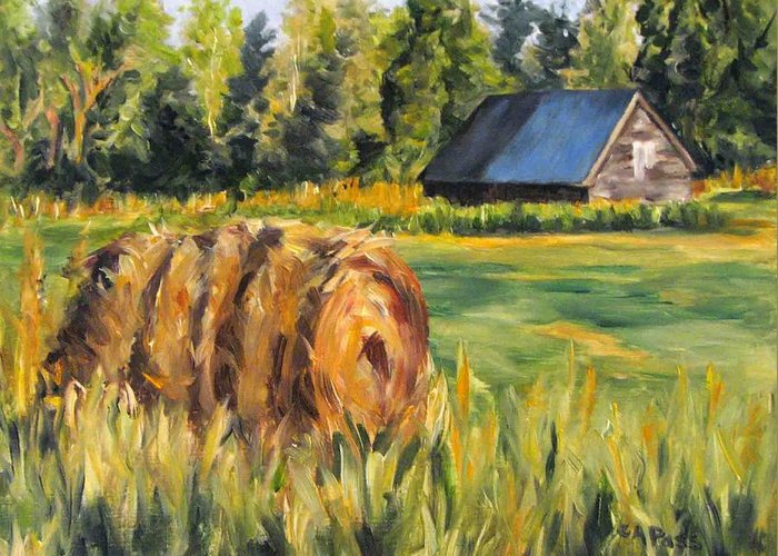 Landscape Greeting Card featuring the painting Hayroll And Barn by Cheryl Pass