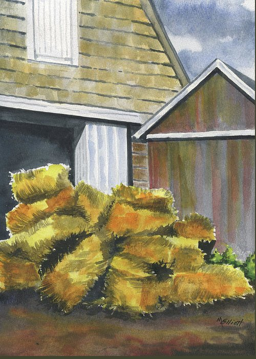 Hay Greeting Card featuring the painting Haystack by Marsha Elliott