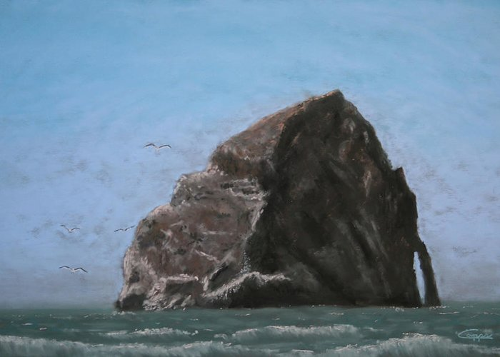 Seascape Greeting Card featuring the painting Haystack Rock by Carl Capps