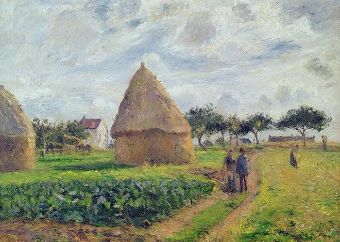 Haystacks Greeting Card featuring the painting Haystacks by Camille Pissarro