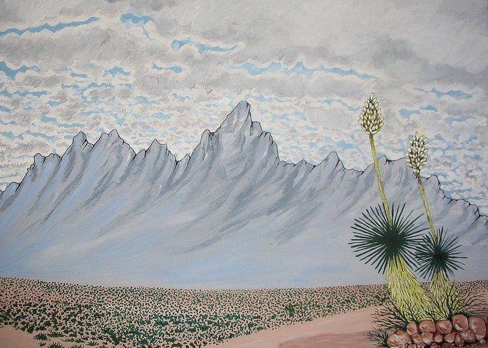 Desertscape Greeting Card featuring the painting Hazy Desert Day by Marco Morales