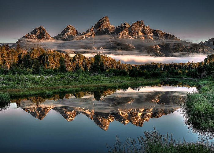 Schwabacher Landing Greeting Card featuring the photograph Hazy Reflections at Scwabacher Landing by Ryan Smith