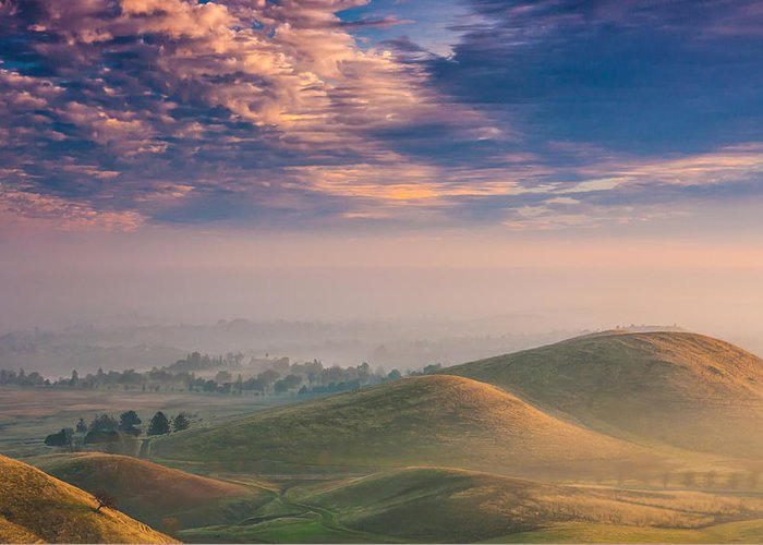 Landscape Greeting Card featuring the photograph Hazy Sunrise by Marc Crumpler