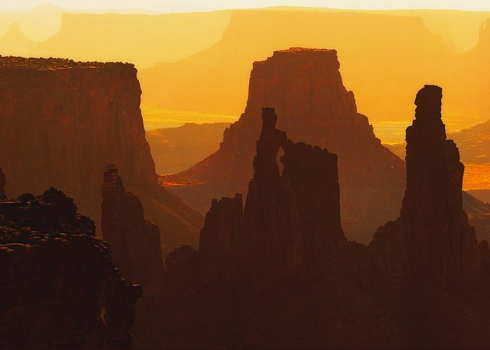 Desert Greeting Card featuring the photograph Hazy Sunrise Over Canyonlands National Park Utah by Utah Images