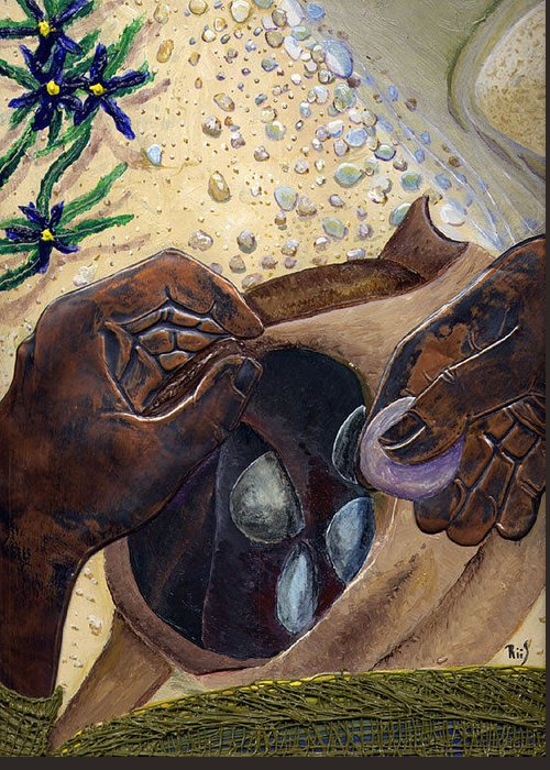 Bible Art Greeting Card featuring the painting He Chose Him Five Smooth Stones by Dan RiiS Grife