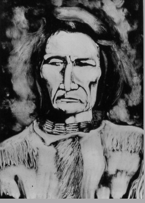 Western Art Greeting Card featuring the drawing He Has Seen Many Changes by Dan RiiS Grife