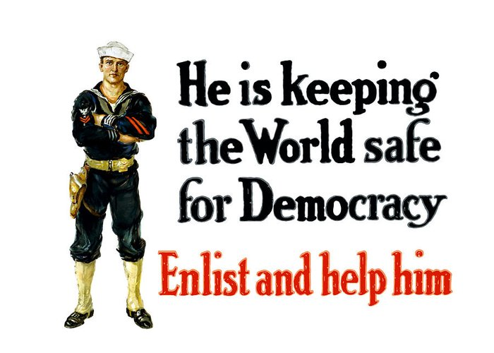 Navy Greeting Card featuring the painting He Is Keeping The World Safe For Democracy by War Is Hell Store