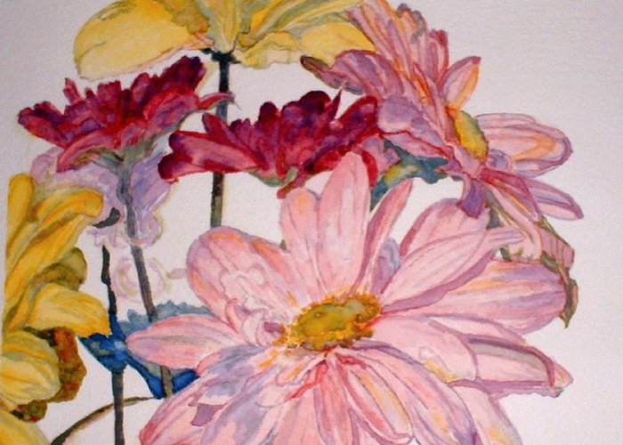Floral Greeting Card featuring the painting He Loves Me - Watercolor by Donna Hanna
